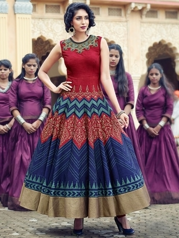 MULTICOLOR BANGLORI SILK READYMADE GOWN  #strollay #picoftheday #weddding #designer #gown  #gowns