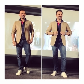What a fun promotional event yesterday , @riteishd ki toh lag Gayi tashreef by @vivekoberoi aka Amjad khan in @marksandspencerindia jacket and white sneaks @gant1949 @prpundit nautical print polo @diesel jeans. Styled by @gumanistylists . . . #celebfashion #celebritystyle #bollywood #actor #hero #vivekoberoi #bankchor #promotion #styling #stylefile #instacollage #summerstyle #menswear #mensfashion #ootd #gumani #gumanistylists #staytuned and #followformore