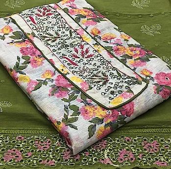 Rate:1200/- TOP* Chanderi silk handwork *BOTTOM* cotton *DUPP* Cotton work