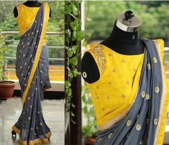 #saree #sareeonline #saree-georgette #sareees #saree-in-new #grey #trendingfashion #trendyclothes #stylestatement #stylein #yellow #sareesale