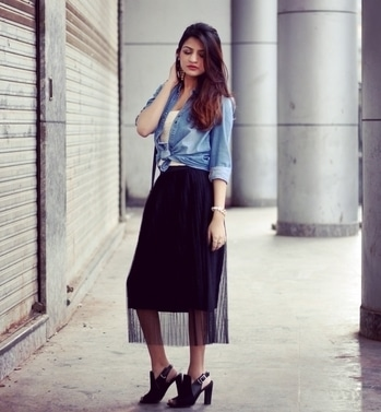 Hey you guys! I've been experimenting a bit with my style lately, pairing elegant pieces with more casual ones. Check out the latest post on my blog for more details on this look and tell me what you think!  addictedtolace.com  Follow me on Instagram: instagram.com/addictedtolace   #streetstyle #pleatedskirt #netskirt #addictedtolace #denimshirt #edgyelegance #mumbaifashionblogger #blockheels #croptop #tieupshirt