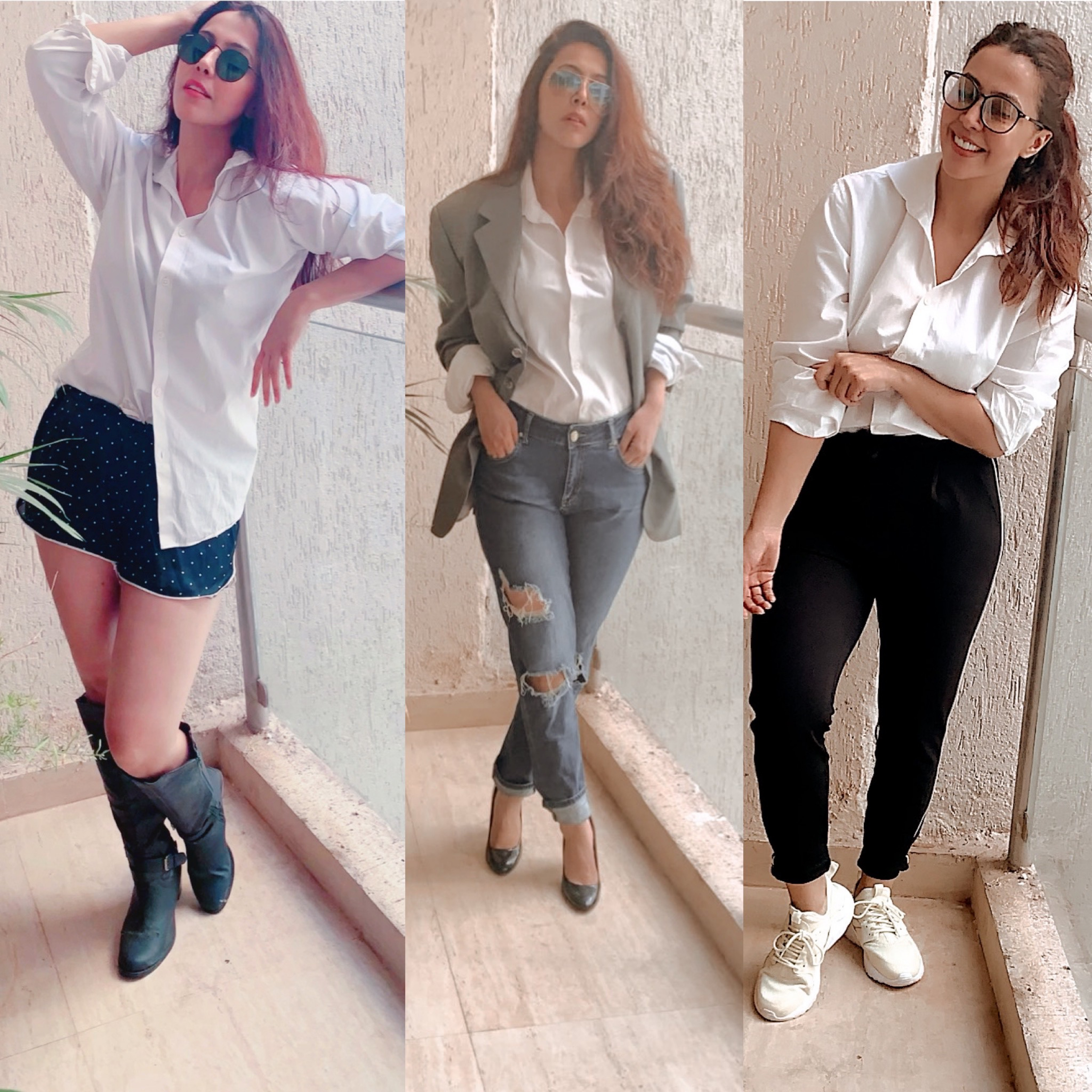 One white shirt but three different looks.Let me know which one u like it? 💖🌹.   #rosepuri #fashionpost #instagram #instapost #style #wednesdaypost #outfitstyling #lookoftheday #lookbook #rosepuri #atyaskinfit #love