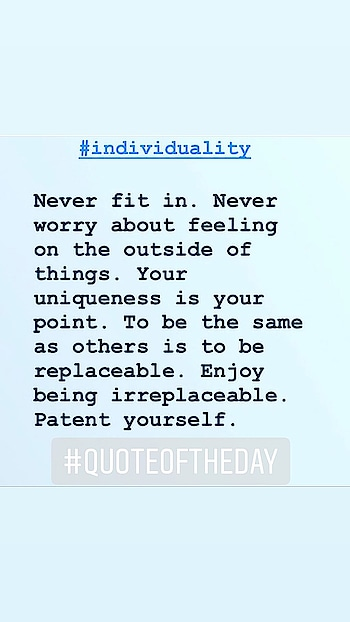 And the point is you never 'try' to be different; it's you, your characteristics, your ethics and your life experiences that will set you apart from the rest of the world! 💖  #quotes #quotesdaily #quotes❤️ #quoteslover #quoteoftheday✏️ #quoteoftheday #quotestagram #positivevibes #optimism #irreplaceable #individuality #neverfitin #lifequotes #life #hope #horizon #gvo #goodvibesonly #nzblogger #aucklandblogger #foodfashionandfunwithsonal #eat #pray #love #live #laugh #stayhappy #stayclassy #stayhumble #stayblessed