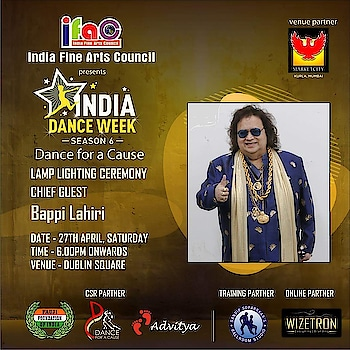 The one and only Bappi Lahiri will light the inaugural lamp of our National excellence award winning festival.... 'India Dance Week - Dance for a Cause' season 6.... presented by India Fine Arts Council at Phoenix market city Kurla.. on 27th April  Come n meet the legend..   Thk u @mayanklalpuria.. Haresh Mehta.. Rajesh Srivastav.. @uma.rele.. villoo bharucha.. @shalini_bhargava .. Brian Fernandes.. @deshreyas Desai.. @ankita.dolawat.. Jameel Shah.. @btdvipin .. @nazimwizetron for making this happen..  This year thru 'Dance for a Cause' we are paying tribute to the indian army and their equally courageous families and supporting Fauji foundation of India...  So come n witness the dance extravaganza.. only at #phoenixmarketcity #dance #mumbai #danceshow #danceevent #dancers #legend #indiadanceweek #danceforacause #sandipsoparrkar #dancechallenge #indianarmy #tribute #army #dancelife #bappilahiri #inauguration #opening #openingday #roposo  #repost #loveroposo
