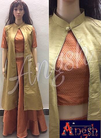 #skirt #umbrella #croptop #pathanistylejacket #brocade #elbowsleeves #designer #stylish #trending #angsh #jaipur #festivelook Dm to order😊