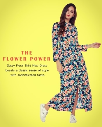 This #Sassy #Floral #Shirt #Maxi #Dress #boasts a #classic #sense of #style with #sophisticated #taste. It has a shirt dress #construction with a band collar #detail.  #IKnow #AW2017