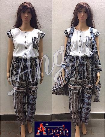 #jumpsuit #jacket #stylish #trending #angsh #jaipur #button #designer #frontopening  Dm to order😊