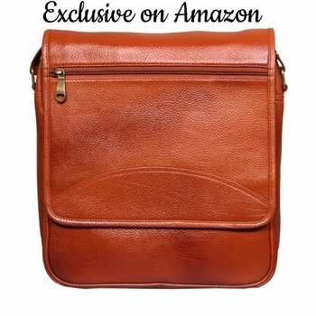 Leather World 12 Inch Trendy Tan Genuine Leather Laptop Office Briefcase Messenger Cross Body Portfolio Bags for Men & Women #leather #messengerbag #crossbodybag #officebag