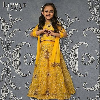 Your princess will glow brighter than a sunshine in this cute yellow lehenga @rinadhaka  Buy this stunning piece only at www.littletags.com #littletags #yellow #lehengacholi #shimmerdress #outfitforgirls #prettyinyellow #elegant #beautifull #comfortable #rinadhaka #ethniclove #indianwear