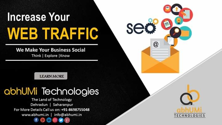 """Today it's not about 'get the traffic' — it's about 'get the targeted and relevant traffic."" Increase your web traffic.  Visit us for more details Email: info@abhumi.in Contact: +91-9105152310, +91-8698755048 #webtraffic #web #google #traffic #seo #smm #searchengineoptimization #socialmediaagency #socialmediamarketer #dehradundiaries #indian"