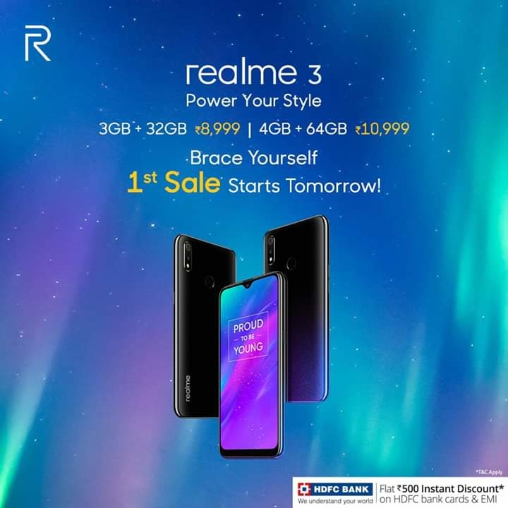 It's almost here! Are you ready to #PowerYourStyle with the all new #realme3! 🤩 👉🏼 3D Unibody Gradient design 👉🏼 Helio P70 processor 👉🏼 13+2MP Dual Rear Camera And much more. Starting at an attractive price of Rs. 8,999 first sale begins at 12 noon, tomorrow on @Flipkart and realme.com. #flipkart #realme #madhavsheth
