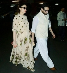 Kareena n saif spotted at the Mumbai airport
