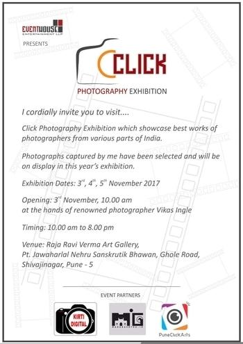 Doing my best 1st Photography Exhibition 📷📷📷   Very Much Excited 😀😀😀😀👍👍👍👍   CLICK PHOTOGRAPHY EXHIBITION #2017   Please Do Visit the Exhibition On  3rd, 4th, 5th November 2017.  Venue:Raja Ravi Verma Art Gallery,  Pt. Jawaharlal Nehru Sanskrutik Bhawan, Ghole Road,Shivajinagar, Pune - 5.  #app  #photography  #love-photography   #EventHouseEntertainment  #maharashtra_ig   #puneclickarts #pune   #puneinstagrammers  #roposo  #roposolove  #roposotalenthunt  #followformore