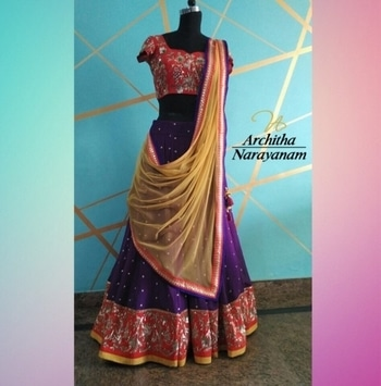 Everything exquisite,exclusive and electic for your #weddingwardrobe ! #archithanarayanamofficial #bespoke #exquisite #exclusive #electic #weddingcouture #lehengas #bespoke #bigfatindianwedding #indianwear #bridallehengas #happybrides #red #purple #mustardyellow #drapes #bridetobe #intricate #embroidery #zardosiwork