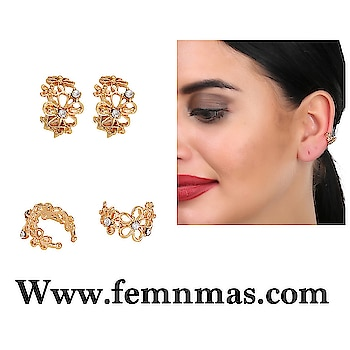 Golden Snow Flake Ear-clips  ₹249  Shop Link-https://goo.gl/3dzKdy  #femnmasjewellery #earcuffs #onlineshopping #nonpierced #goldenearcuff #celebrityjewelry #earcuffpair #rhinestoneearcuffs #earrings #onlineshopingstore #fashionjewelry #accessories #party #girlsearcuffs