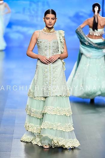 Look~3 #archithanarayanamofficial #thalassa #ss19 #fdci #lmifw #indiafashionweek #delhi #festivecollection #bridalcouture #bridestobe #bridemaids #shadesofthesea #vogue  Pic courtesy ~vogue  Thanks for the amazing pictures!!