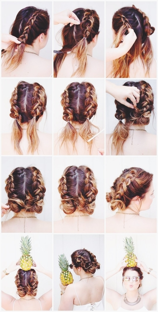 This double Dutch braid bun is so cool to try this summer. Just love this hairstyle, it is suitable to all kind of hair length. #summerhairstyles  #youtuber #stylefromcloset  #hairstyle
