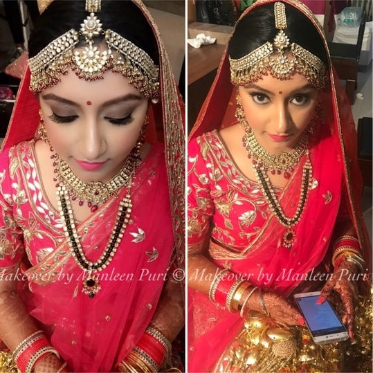 Nothing makes a women more beautiful than the belief that she is beautiful! How stunning does my bride looks on her big day!! Thank you so much Saakshi for giving us the opportunity to doll you up! #brides #mybrides #indianbrides #indianoutfit #indianjewellary #mathapatti #makeoverbymanleen #lovewhatido #tygod 🙏🏻💞  Bookings open!! Call at 9910192751 and book your slot now!
