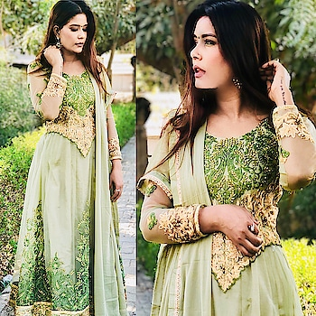 😍Love this BEAUTIFUL designer embroidered Green color Anarkali Suit by @peachmodeinsta