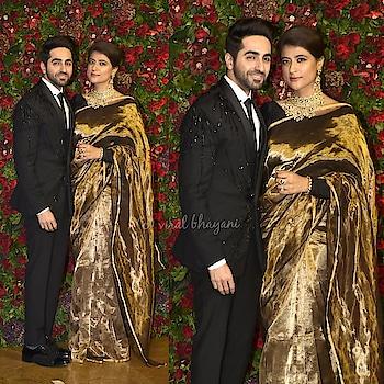 #ayushmannkhurrana  with wife #tahirakashyap #deepikapadukone  #ranveersingh  #weddingreception  #deepveerkishaadi #bollywood #love #song #dance #fashion
