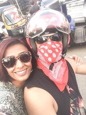 The biker and I ... thanks for the ride @rajeshkhera1 😘😘😘. . . . . #bikeride #biker #bikers #enfield #enfieldlife #instabike #motorcycle  #buddies #friends #just #impromptu #buddy#bikeriding #happy #riders #fun #picoftheday #oldbuddies #happyme #happinesshappening #lovingit #streetride #mumbai #moments #friendzone #nostalgic #flyinghigh #loveandlight #achintkaur