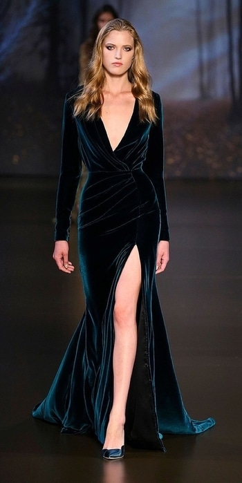 Velvet are never out of trend..it comfy yet very classy..the royalty of this fabric amazingly enhance the look...velvet will run around in fashion industry till the end.. Picture description:ralphnrusso velvet dress,classy n comfortable and stylish..!!!  #runway #trendyfashion #hashtaggameon #classy #stylishdiva #ralphandrusso #designer-wear #comfortable #royal #runawayrising