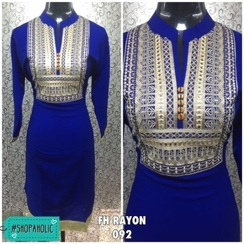 FH RAYON  Style No. : 092 Single : Rs. 690/- Size : 40 (L) Length 43 Lining: No Need Colours : Maroon / Pink / Blue Sleeve Type : Long Sleeves  Fabric : Rayon  Pattern : Embroidery Work  Occasion : Casual Wear Fabric Care : Dry Clean or Hand      Wash Only Shipping Charges extra. #shopaholic