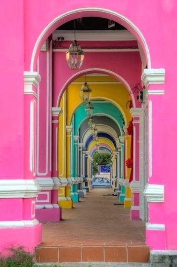 #Colorful passage in Penang, #Malaysia. Image via sharpeyes44, tumblr #travel #travelbug #wanderlust #love #beautiful #wow #amazing #go #see #inspiration #world #pink #beauty #weekend #mood #sundayfunday #colors