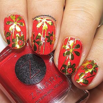 Red Nails❤️❤️❤️ #rednails #goldennails #goldenflowers #partynails #nailartstickers #beautybigbangnailart #designyournailsbyisha #ishanailart #roposonails #roposofashion #roposoness #soroposo #roposoblogger #nailartblogger #bblogger