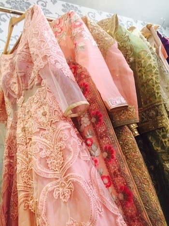 Details on the rack!✨ Be the prettiest Bride in the room with our latest collection #Ameerah  #handcraftedindia #handcrafted #embroiderymeerah #handcraftedindia #handcrafted #embroideryart #mughal #inspired #handembroiderywork #AashimaBehlCouture #shopnow
