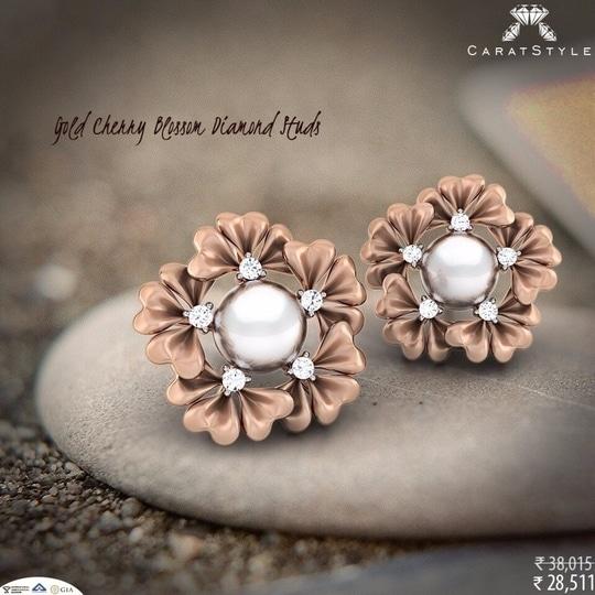 Listen up your ladies - #Diamond Studs #Earrings! - PAPILIOR - 28514/-