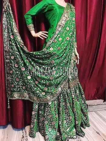 Green kamkhwab Gharara with zari and resham embroidery on dupatta. Kundan stones all over.    🌈WhatsApp at +919971865919 to order 🌈Deliver complete stitched to your size  🌈Deliver Worldwide   #gharara #ghararastudio #ghararastudiobyshazia #ghararas #ghararah #ghararasale #ghararadesign #ghararafashion #bridalgharara #partygharara #instafashion #fashiongram #fashionblog #fashionblogger #fashionpost #orderonlinegharara #buyghararaonline #greengharara #kamkhwabgharara
