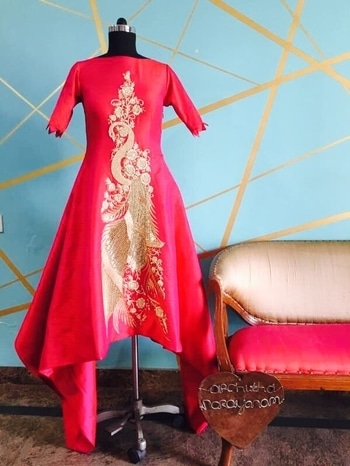 This high low fuchsia ensemble with delicate embroidery is a must have in your wedding trousseau!!  #archithanarayanamofficial #delicate #embellishments  #masterpiece #handcrafted #reddishpink #silhouette #elegant #beautiful #classic #eveningwear #bridalcouture #wedding #attire #trousseau  #reception #sangeet #stylish #ensemble  #detailtherapy  #fuchsia #festive