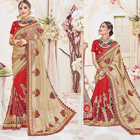 Beige Imported Fabric Saree Product code - FCS870 Available at www.fashionclozet.com  Watsapp - +91 9930777376 Email -  info@fashionclozet.com Or DM for enquiries.