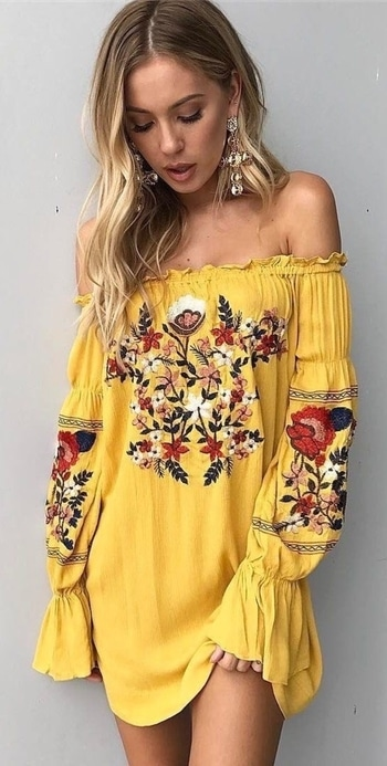 #embroidered #yellowdress #offshoulder #bohemianstyle