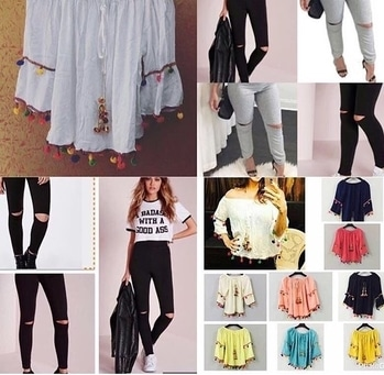 Combo offer Pom pom top with ripped jegging   Free size  Choose ur color 4 Pom pom top Price 800