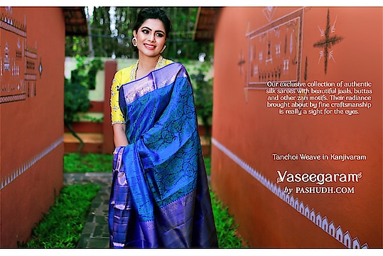 Royal blue Tanchoi weave silk saree  Saree search code : 202409 . . The royal blue body of the silk saree is adorned by eye catching Tanchoi weaves. Surrounding the body is royal blue Kanjivaram golden zari border. The pallu also takes a royal blue shade and rich zari is spread across its length. A candy-pink jacquard blouse comes along with the saree. . . Credits With muse: @sonugowda  Photography: @ashwinthclicker  Jewellery: @pradejewels Blouses: @avani_designstudio  Make up: @makeoverwithlakshmi_shetty  Hairstyle and draping: @tejaswini1977  Location: @goldcoinsclub   . . #Malaysia  #London #UK  #Australia #SriLanka #Singapore #usaindians #ukindians #malaysiaindians  #indiantraditionalwear #handwoven #kanjeevaram #kanjeevaramsaree #kanjeevaramsilk #india #fashion #contra #kanjivaramsilks #sareetime #weddingsilks #handloomindia #puresilksarees #silksofindia #christmas #southindiansilksarees #onlinesilksaree #sareesofinstagram #kanjivaramsilks #100sareespact #kanchipuramsaree