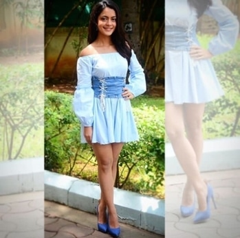 Anya Singh completed her #alldenim look with #heelium #INTOTOs for #qaidiband promotions #celebrity #trendert #shoefie #shoestyle #ootd #potd #getthelook #newgirl #celebstylists