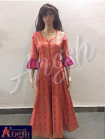 #floorlength #kurti #silk #fullembroidery #bellsleeves #sweetheartneckline #angsh #jaipur #designer #trending #stylish #festivelook Dm to order😊