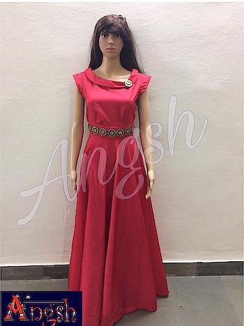 #gown #cheeryred #boatneck #collar #button #belt #stylish #designer #trending #capsleeves #angsh #jaipur  Dm to order😊