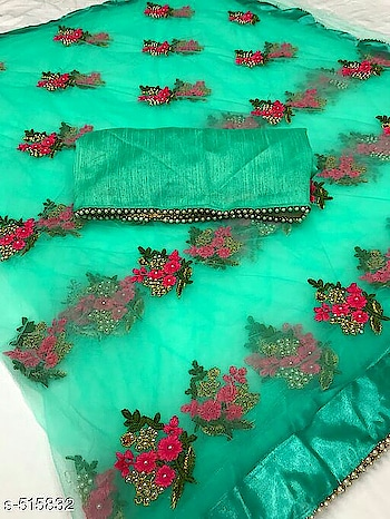 Price-850+$70   cash on delivery                            *Navya Designer Net Embroidered Sarees V    Fabric: Saree - Net, Blouse - Banglori Silk   Size: Saree – 5.5 Mtr, Blouse – 0.8 Mtr   Work - Saree : Embroidery Thread Work With Stone , Blouse: Lace Work   Dispatch: 2 – 3 Days    Designs: 13    Easy Returns Available in Case Of Any Issue