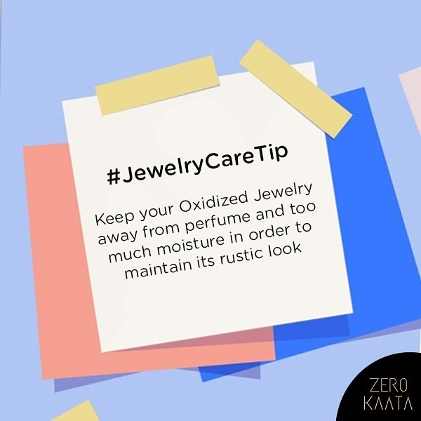 For all the #oxidizedjewellery lovers, follow this tip to maintain the look of your jewellery.  It not only works for oxidized jewellery but also helps to maintain the look of every type of fashion jewellery.  Follow @zerokaata for more such Jewelry Care Tips  #jewelrycleaner #jewelrycleaning #jewelrycare #jewellerycare #oxidizedjewellery #earringswag #earringsoftheday #earringlove #earringfashion #instaearrings #earringsforsale #earringaddict #earringstagram #jewelrycollection #jewelryinspiration #everydayjewelry #tribaljewelry #tribalfusion #jewelryofinstagram #jewelrytrends