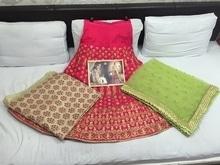 Design no. :- 8010 Fabric :- net + milan Blouse :- banglori Peticott :- santoon Color:- rani + pista Price :-3999 free shipping  dps