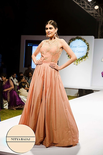 The stunning Anousha Chauhan @anousha_c all dainty in our peach #eveninggown @labelnityabajaj at #fashionforacause #fashionshow organised by @deepikakrishna for #cancerawareness #fashionshow directed by @rashmivirmani @gopalikavirmani Marketed by @iamquestpr  Captured by @shivamduaphotography  #peach #fashion #model #ramp #labelnityabajaj #NityaBajaj #fashionphotography #fashionforacause