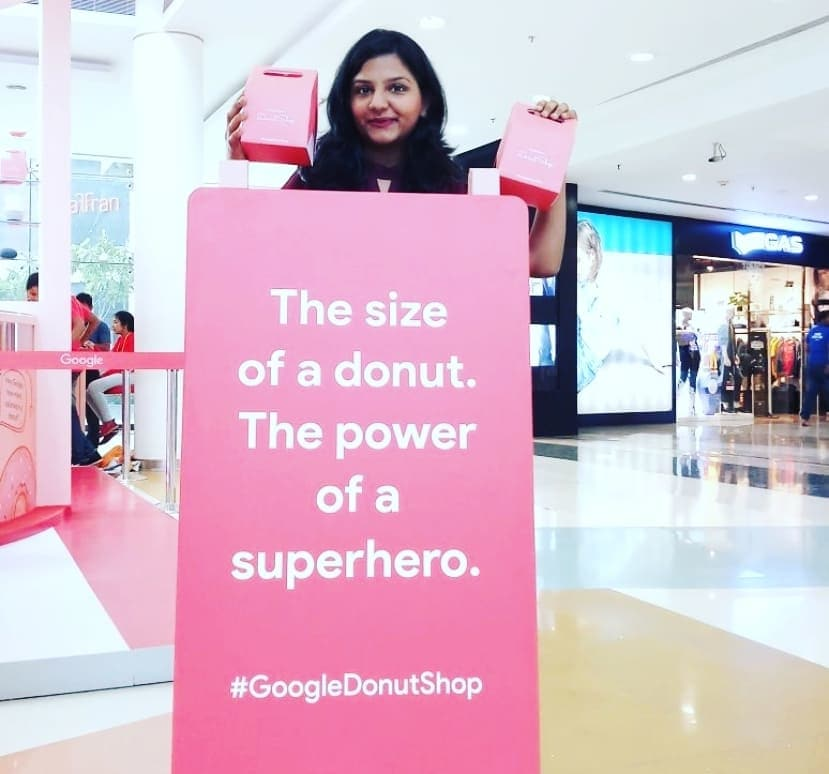 """""""A LITTLE HELP AT HOME, LIKE ONLY GOOGLE CAN"""" . . The new Google Home Mini is the size of a donut, with the powers of a superhero . . .  #officialgooglehome #AdorableWe #google #googleindia #heygoogle #okgoogle #googleassistant #googledonutshop #googledonuts #googledonutlaunch #donuts #googlemini #googlehomemini #googledonutshopindia @google"""