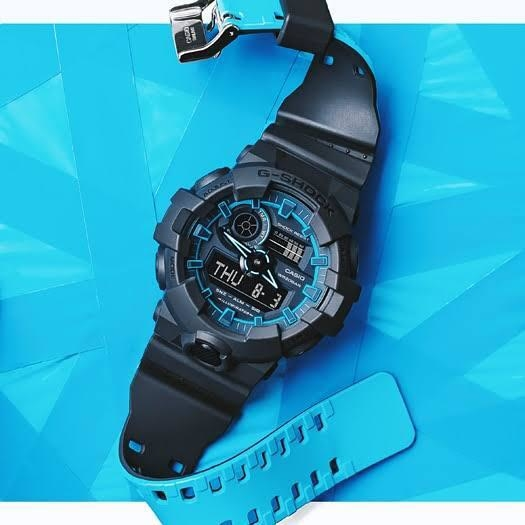 😎😎 *ORIGINAL QUALITY.. G SHOCK.. GA 700 SE.. NOW IN STOCK* 😎😎  # Casio # G-Shock # *GA 700 SE* # *Limited Edition* # *BLUE NEON* # Unisex # CASE SIZE: 55 mm x 51.2 mm # Original Model # *DUAL COLOR STRAP*  # Features - > *Original Japan Quartz Movement* > *Shock Resistant* > Mineral Glass > Resin Band  > 200-meter water resistance > *LED light (Super illuminator)* > *World time* - 31 time zones (48 cities + coordinated universal time) > Daylight saving on/off,  > *1/100-second stopwatch* > *Others* - target time alarm, direct timing start from the timekeeping mode > *Countdown timer* - Measuring unit: 1/10 second, Countdown range: 60 minutes > *5 daily alarms* (with 1 snooze alarm) > Hourly time signal > *Hand shift feature*  > *Full auto-calendar* (to year 2099) > Button operation tone on/off  🌟 *NEW PRICE* 🌟  ✅ *Only 2050 including Shipping and Original Casio G Shock Box* ✅