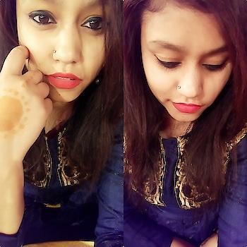 #loveblue #expression #selfielove #selfieholic💕💕 #blueblue #lovetobeclicked #blue-coloured #redlipstick #mascara #boldliner #perfectlook