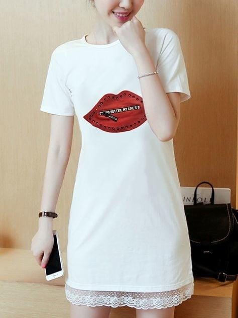 Red Lips Shift Dress by mogsh.com #redlips #shift #minidress #roposolove