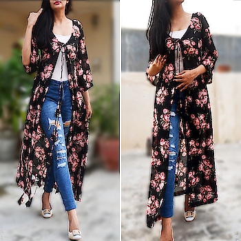 It's time to update your wardrobe with this beautiful printed black floral shrug from Colorauction. This shrug is extremely stylish featureing multiple tassels in the front and will upgrade your style quotient. Wear it over strappy black tunic and pumps for an ultimate fashion statement.  To order this shrug visit our official website www.colorauction.com  #shrugs#fashion#womenswear#onlineshopping#stylepost#styleblogger#igers#ootd#shrugs#springsummer#summer#startup#startuplife#fashiondaily#stylepost#black#floral#cape