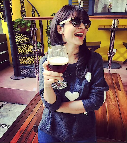 """No that not Beer , that's my blue tokai coffee @cold nitro brew"""" at 1BHK , oshiwara my new restaurant . Always loved having coffees in style"""